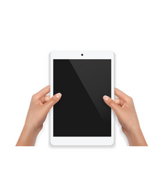 female teen hands using tablet pc with white vector image
