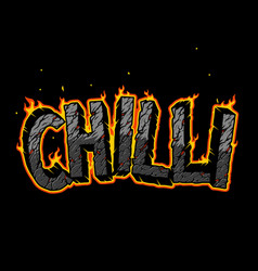 fiery chilli vintage lettering vector image