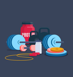 Fitness and bodybuilding equipment vector