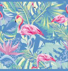 flamingo in abstract blue foliage leaves vector image