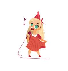 Flat kid girl singing at microphone vector