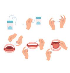 floss dental steps how to use hygiene vector image