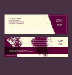 Flyer grunge style texture purple yellow set vector