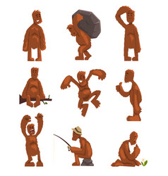 Funny bigfoot cartoon character set mythical vector