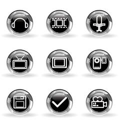 Glossy icon set 30 vector image