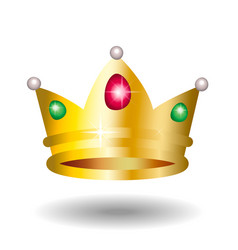 Golden crown with green and red gems and pearls vector