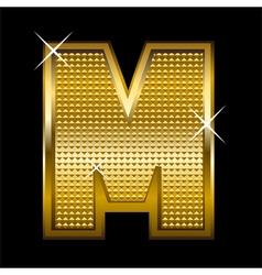 Golden font type letter M vector image