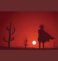 Gunman in desert western scene vector