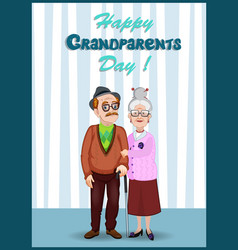 happy grandparents day greeting card with elderly vector image