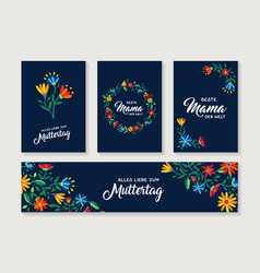 Happy mother day german flower greeting card set vector