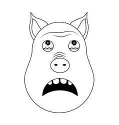 head of terrified pig in outline style kawaii vector image