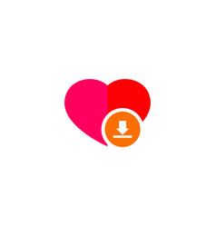 Heart download icon vector