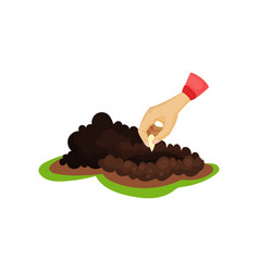 human hand planting seed into soil pile of ground vector image