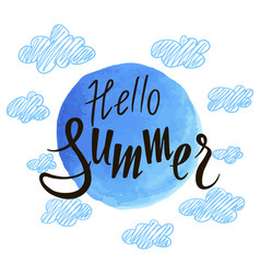inscription hello summer on background of vector image