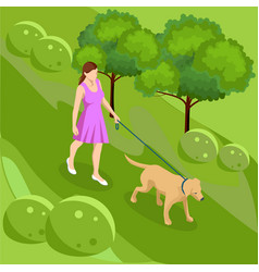 isometric girl in casual clothes walking in park vector image