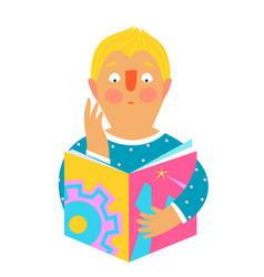 Man or boy reading studying tech book icon design vector
