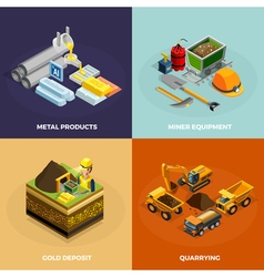 Mining Concept Isometric Icons Set vector image