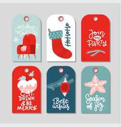 modern christmas gift tag flat stylish design set vector image