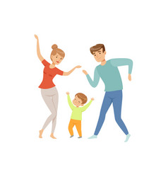 Mom and dad dancing with their little son happy vector