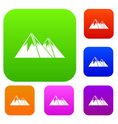 Mountains with snow set collection vector