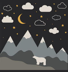 night mountain landscape with new moon and stars vector image