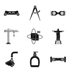 Pendulum icons set simple style vector