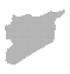 pixel map of syria dotted map of syria isolated vector image