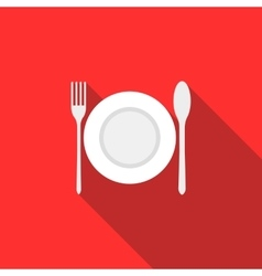 Plate spoon and fork icon flat style vector image