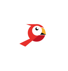 Red bird with white face and yellow beak vector