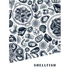 seafood a5 flyer design hand drawn fish shellfish vector image