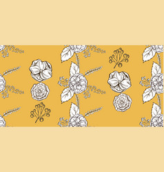 seamless floral hand drawn pattern sketched vector image