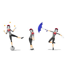 Set 1 of girl mime performances vector