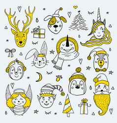 set cute cartoon christmas characters vector image