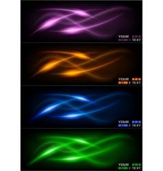 set of dark glowing wavers vector image