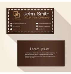 Simple brown stitched like style business card vector