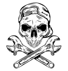 skull with hat and crossing wrenches vector image