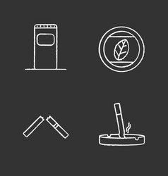 smoking chalk icons set vector image