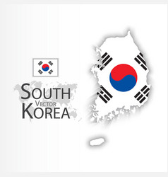 South korea flag and map vector