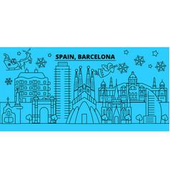 Spain barcelona city winter holidays skyline vector