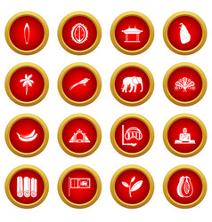 Sri lanka travel icon red circle set vector