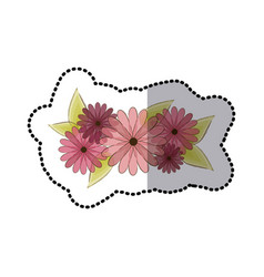 Sticker faded flowers bouquet floral design with vector