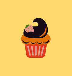 Strawberry buttercream frosting cupcake vector