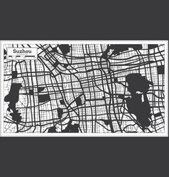 suzhou china city map in black and white color in vector image