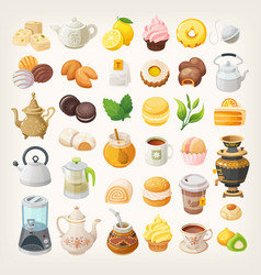 tea cups kettles and desserts vector image