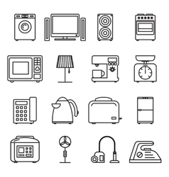Thin line home appliances icons household outline vector image