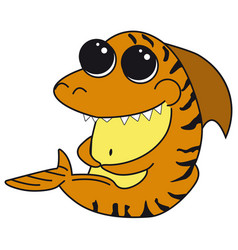 tiger shark with big eyes cartoon funny isolated vector image