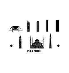 Turkey istanbul flat travel skyline set turkey vector