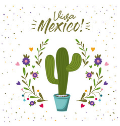 viva mexico colorful poster with cactus plant vector image