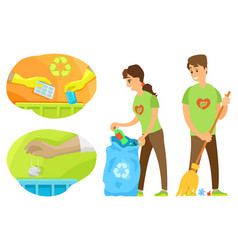 volunteers cleaning up environment trash vector image
