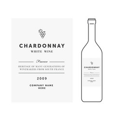 White wine label premium template clean vector